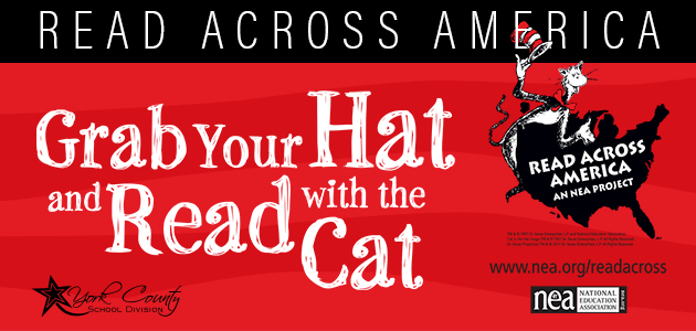 Read across america. Grab your hat and read with the cat.